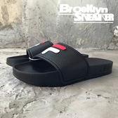 FILA 荔枝皮 黑 大LOGO 防水 拖鞋 (布魯克林) 2018/7月 4-S316S-021