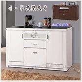 【水晶晶家具/傢俱首選】魯邦白色強化黑玻4呎餐櫃 ZX8841-3