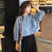 韓版新款長袖上衣秋裝復古牛仔短外套夾克外套  萬客居