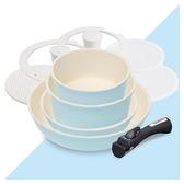 不沾鍋具 【T0152】IRIS 馬卡龍陶瓷塗層IH不沾鍋具9件組 完美主義