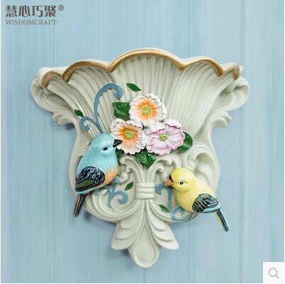牆飾掛飾花器美式鄉村田園創意客廳花盆樹脂花鳥立體壁