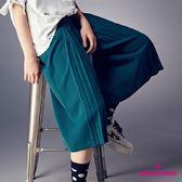 【SHOWCASE】時尚修身前褶鬆緊雪紡寬褲(綠色)