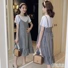 孕婦夏裝夏天裙子2020新款假兩件格子裙...