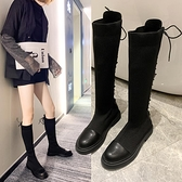 網紅靴子女2021秋款百搭平底長靴過膝英倫風中筒襪靴彈力瘦瘦女靴 8號店
