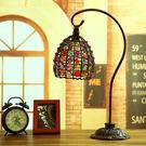復古鐵藝台燈 臥室床頭燈 創意時尚調光尼泊爾手工串珠歐式台燈  SSJJG