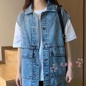 牛仔外套 工裝復古牛仔馬甲女寬鬆2020年新款秋季韓版潮流無袖馬夾背心外套 HH3406
