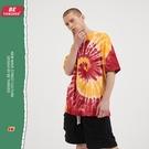 雙色旋渦紮染嘻哈體恤T恤 高街潮流時尚原創T恤 男生小眾設計T恤 2021夏季歐美寬鬆短袖T恤