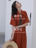 連身裙夏天法式甜美短袖波點領巾POLO領中長裙女【桃可可服飾】