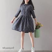 漂亮小媽咪 森林系洋裝 【D7024】 文藝 保暖 法蘭絨 襯衫領 小鹿鹿 長袖 純棉 孕婦裝 孕婦洋裝