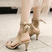 高跟鞋少女細跟夏季新款一字綁帶法式網紅百搭涼鞋仙女風 QQ29650『MG大尺碼』