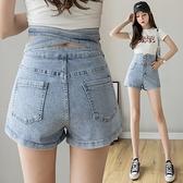 短褲高腰直筒牛仔短褲女夏復古chic港味a字設計感綁帶熱褲潮NE245快時尚