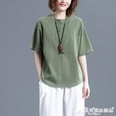 棉麻上衣 棉麻短袖T恤女夏文藝復古寬鬆大碼顯瘦素色休閒百搭亞麻襯衫上衣 愛麗絲