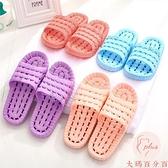居家浴室拖鞋女夏天防滑鏤空漏水塑料涼拖鞋【大碼百分百】