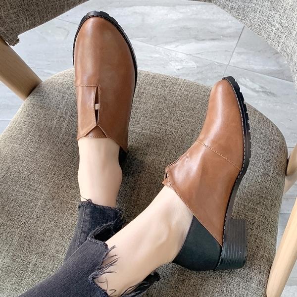 兩穿可後踩.MIT顯瘦拼接圓頭鋸齒底低跟踝靴.白鳥麗子