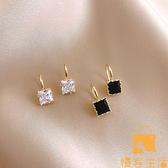 黑白方塊鑲鉆不規則多面體耳環女韓國氣質耳釘簡約耳飾品【慢客生活】
