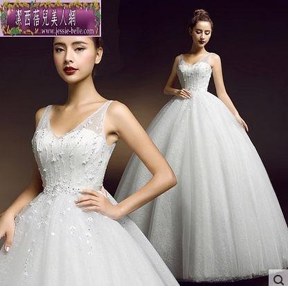 大碼時尚蕾絲雙肩齊地顯瘦女士結婚婚紗禮服-ming0016