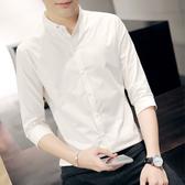 夏季白色立領短袖襯衫男士修身韓版7七分袖襯衣男裝中袖寸衫潮流 快速出貨