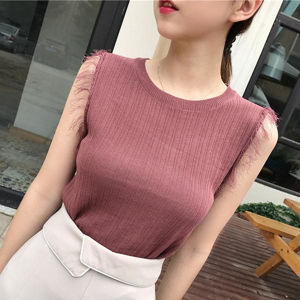 [超豐國際]夏裝純色條紋流蘇圓領無袖t恤針織背心女外穿毛邊上1入