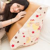 【奶油獅】正版授權-台灣製造-搖滾星星紙纖舒涼三角靠墊-米色(一入)