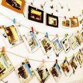 掛墻懸掛韓式文藝卡紙復古皮質紙相框紙質照片墻相片夾麻繩木夾子