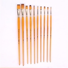 N201黃桿金色尼龍水粉油畫丙烯水彩顏料用畫筆10支套裝美術專用畫刷描繪勾邊LXY4507 『小美日記』