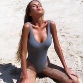 比基尼露背性感連身泳衣純色泳裝馬爾代夫泳衣禮物限時八九折
