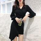 VK精品服飾 韓國風高腰顯瘦燈籠袖長袖洋裝