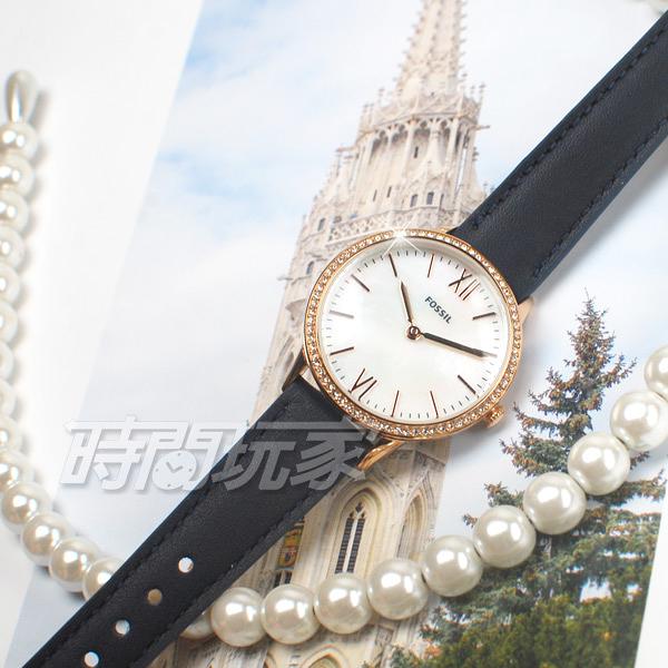 FOSSIL 公司貨 時尚魅力 展現柔美氣質 玫瑰金電鍍x藍 鑲鑽 珍珠貝錶盤 女錶 防水手錶 FS5569