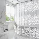 寬180×180cm白色花蔓浴簾 PEVA防霉防水浴簾門簾 送掛鉤【SV6924】BO雜貨
