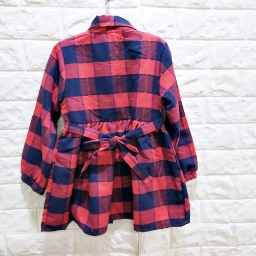 ☆棒棒糖童裝☆(S37868)秋冬女童氣質格子款綁腰帶洋裝 5-15