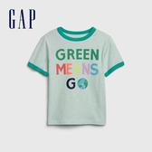 Gap 男幼童 柔軟印花圓領短袖T恤 546017-綠色條紋