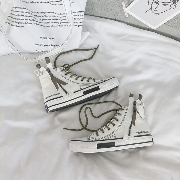 高筒帆布鞋女夏嘻哈街舞鞋潮新款百搭網紅女鞋原宿板鞋小白鞋  檸檬衣舍