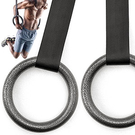 金屬體操吊環+車用安全帶(2入)引體向上健身吊環帶.拉環訓練環平衡環.雙槓重量訓練trx連接帶