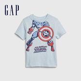Gap男幼童Gap x Marvel 漫威系列美國隊長創意舒適印花短袖T恤577644-海水藍