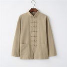 春秋棉麻唐裝男長袖上衣中老年爸爸裝中式太極服打底衫復古中國風
