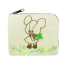 【日本進口正版】小熊學校 幸運草 刺繡 票卡包 零錢包 卡片包 The Bears' School - 099624