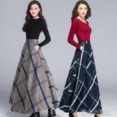 格子毛呢半身裙女秋冬新款冬天配毛衣裙子中長款打底冬裙加厚 阿卡娜