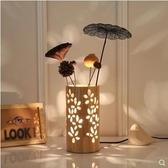 創意簡約檯燈裝飾原木插花溫馨浪漫LED檯燈