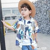 男童仿棉麻短袖襯衫 夏款中大童薄款開衫 新款兒童沙灘度假花襯衫