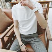 polo衫 夏季文藝POLO衫男青年韓國修身純色立領休閒保羅短袖T恤潮T 米蘭街頭