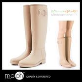 長筒雨鞋 素面雨靴 搭扣 韓國時尚簡約低跟防水長靴 mo.oh (韓國鞋款)