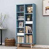 書架小戶型層櫃收納家用理發店北歐風擺件櫃地櫃櫃子小型書櫃多功能LX 晶彩