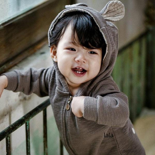 正韓 LALA 小鹿連帽長袖連身衣 Bambi Suit  灰色 gary