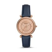 FOSSIL  新上市簡約三針皮帶腕錶 ES4485  海軍藍