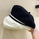 貝雷帽 帽子女春夏季薄款透氣純色八角帽韓版潮珍珠百搭日系畫家貝雷帽子