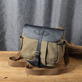 帆布皮革馬鞍包  中性休閒書包  側背包旅行包袋  現貨+預購【Solomon 皮件設計】87CA03