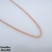 §海洋盒子§中長鍊。1.5mm寬.立體蕭邦鍊玫瑰金925純銀項鍊