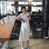 大碼洋裝~T恤裙~304韓版寬松大碼中長款純色短袖T恤女裙過膝連身裙N4F-C417 胖妞衣櫥