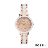 FOSSIL JACQUELINE 白x玫瑰金色賈姬風尚不鏽鋼女錶 36mm