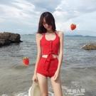 韓國ins分體游泳衣高腰掛脖針織女韓版性感綁帶顯瘦遮肚沙灘泳裝